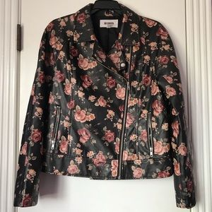 BB Dakota Floral Faux Leather Blazer